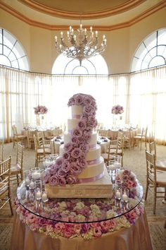 Purple & Lavender Glam Wedding Cake---not feeling all the flowers on the cake but love how the flowers are under the cake make it beautiful!!!