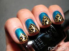 Leopard + Turquoise Chevron Nails ♥ | LUUUX