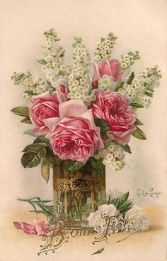 Vintage Paul de Longpre rose bouquet...