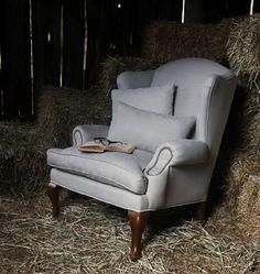 Wingback linen chair