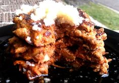 Carrot Cake Pancakes (grain-free, no added sugar ... uses almond flour and coconut flour as base)