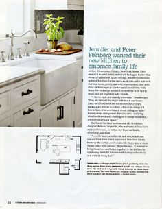 Rebecca Reynolds design for #PoundRidgeKitchen #Rohl sink and faucet for cover feature of #KitchenandBathIdeasMagazine row faucet