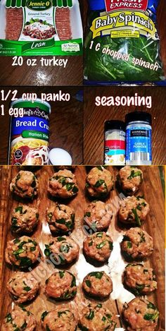 The Easiest Healthy Turkey Meatballs - Panko Breaded Crumbs, Eggs, Turkey, & Spinach. The BEST Meatball Recipe I've Ever Found!