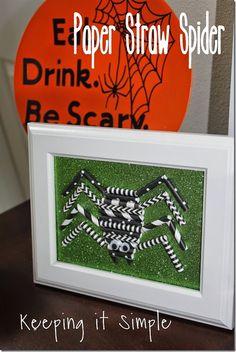 Easy Halloween Spider Decoration: Paper Straw Spider #pickyourplum #paperstraws #halloween #spider @keepingitsimple