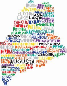 MAINE State Digital Illustration Print with Portage Auburn Kennebunkport Augusta via Etsy