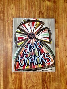 11x14 Give Thanks Cross Canvas Painting