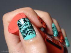 Geometric Skittle Nails - Mint - Orange #nailart