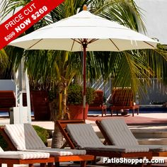 PRICE JUST REDUCED!!! Low Inventory. The best of both worlds a strong wooden umbrella pole and flexible fiberglass arms. PREMIUM MARINE-GRADE Sunbrella fabric! Double Wind Vents for extra stability. A gorgeous umbrella that will make you feel like you are at your favorite resort! Easy double-pulley lift. Click for details: http://www.patioshoppers.com/products/9_Premium_Wood_and_Fiberglass_Market_Umbrella-4711-0.html?utm_source=pinterest_medium=pin_campaign=pinterest_whs_c_dwv9_april2013