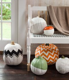 No carving necessary to create these fabulous pumpkins.