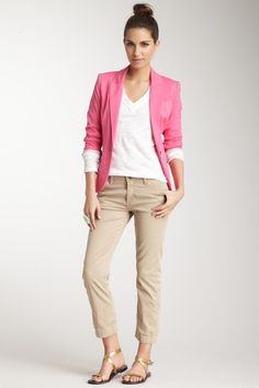 Love the look. I would choose a teal or navy blazer. Craze Boyfriend Chino on HauteLook