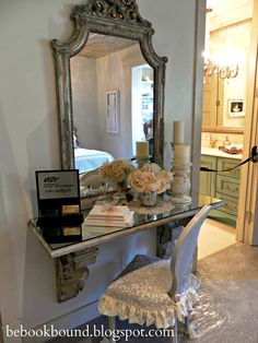 I love this idea for a vanity in a bedroom