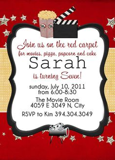 Movie theme party invitation