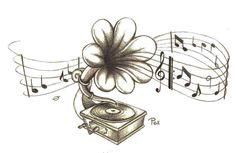 flowerTattoo | gramophone flower tattoo 15 Nice Flower Tattoo Designs