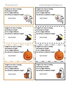free homework passes for halloween