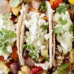 Roasted Veg #Tacos with #Avocado Cream and Feta