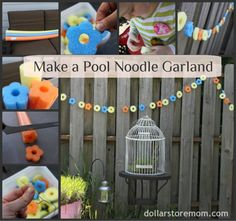 pool noodle garland - fun craft to make with the kiddos pool parties, pool noodles, craft, birthday parties, summer parties, outdoor parties, garlands, noodl garland, kid