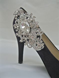 Bridal Shoe ClipCrystal JewelSparkling by ctroum on Etsy...These done in denim fabric and the bling glued on...Connie