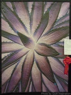 Purple Agave by Vicki Bohnhoff.  Digital image on fabric with beading.  2nd place award, 2014 AZQG, photo by Quilt Inspiration