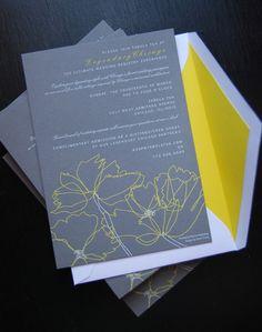 gray weddings, yellow invit, color combos, wedding invitations, grey weddings, inspir idea, random pin
