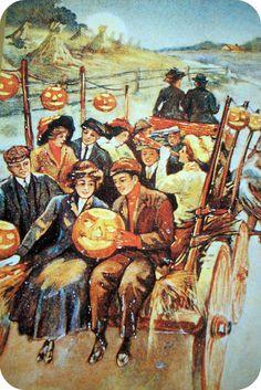 A charming Edwardian era post cards showing folks out enjoying a Halloween night hayride. #hayride #vintage #antique #postcard #card #Edwardian #Halloween #pumpkins