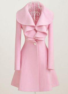 New Style Lotus Leaf Boucle Coat Pink