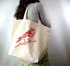 PROP - COTTON BAG  Large Tote Bag - Recycled Cotton Grocery Bag Shopper Tote - Reusable and Washable Canvas Tote Bag for Everyday - Bird Print - Eco Friendly