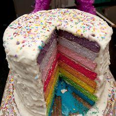 huge rainbow cake
