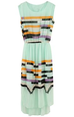 Turquoise Sleeveless Rainbow Print Striped Sundress $35