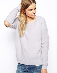Knitted sweatshirt with elbow slit