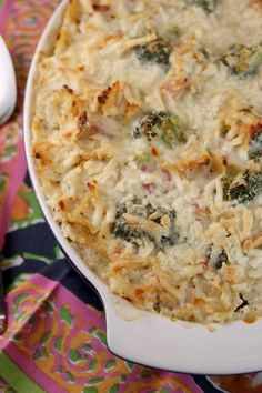 baked pasta and broccoli with ham and cheesy creamy cauliflower sauce • Our Best Bites (Martha Stewart recipe)