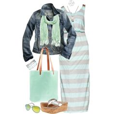 Sailor Stripe Maxi Dress in Mint: Look #1 -- pair this maxi with a jean jacket, mint scarf, and a mint tote bag for the cooler months.