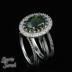 3.5 carat Green Sapphire Three Ring Wedding Set with Black & White Diamond Double Halo and Two Black Diamond Wedding Bands - LS2862