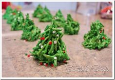 Chinese Christmas Trees - with Chinese noodles and melted marshmallows.