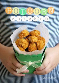popcorn chicken, chicken nuggets, chicken fingers, chicken bites, oven baked, baked popcorn chicken, toddler, children, kid, Food For Toddlers