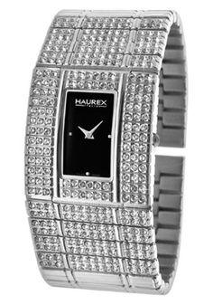 Haurex XS368DN1 Watches,Women's Honey Black Dial Silver-Tone Stainless Steel, Women's Haurex Quartz Watches