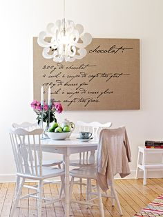 French script canvas - an old favorite family recipe would be cool