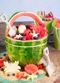 """Beach Basket Materials Needed:                                                                                             1 watermelon – can be seeded or seedless    Cutting board    Kitchen and paring knives    Green dry erase marker    Large bowl and spoon    Melon baller    Beach theme cookie cutters    Instructions    Wash the watermelon under cool running water and pat dry.    Placing the watermelon on its side cut off the bottom end ¼"""" – ½"""" so that it can stand flat on its end.  Be caref"""
