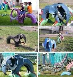 Kids' play equipment made from recycling old tyres