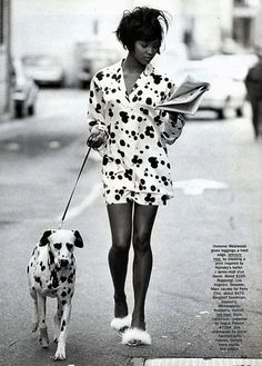 Naomi Campbell wearing Geoffrey Beene for American Vogue, June 1990.