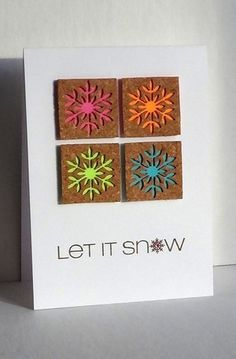 handmade card ... clean and simple ... four square with brown squares ... negative space from  snowflakes backed in bright colors ...