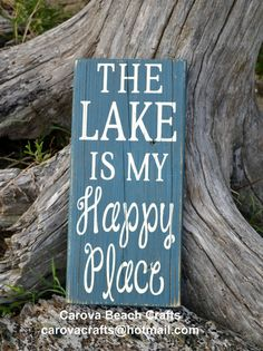 Lake Sign - Lake House Decor - Lake House Sign - Lake Cottage - Gift - Lake Happy Place Sign - Rustic - Reclaimed Wood