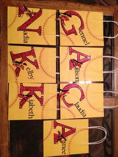 Softball gift bags.