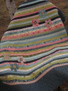 Strip Quilt w/Flower Appliques