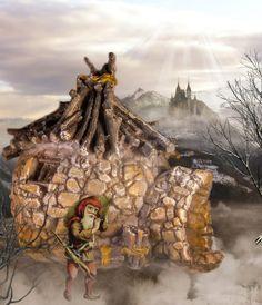 Tiny troll hut in a foggy fairy garden.