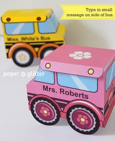 School Bus Favor Box Truck Paper Craft Toy for by paperglitter