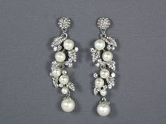Pearl Bridal Earrings Bridal Pearl Crystal by WhiteAisleBoutique, $42.00
