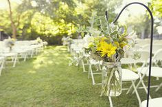 pew marker, mason jars, flower