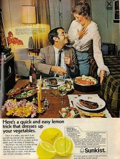 """""""Oh my! He actually took a carrot to go with his three pounds of steak."""" (Funny bad retro lemon ads)"""