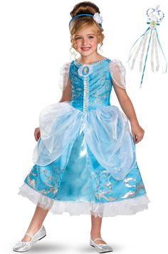 Available for a limited time only! Your princess will transform into Cinderella with this deluxe Disney Cinderella Sparkle Deluxe Princess Costume Set! Complete with dress, petticoat, headband and princess wand! Perfect for Halloween and beyond! #princess #cinderella #dressup