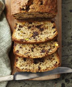CHOCOLATE CHIP PISTACHIO POUND CAKE from One Girl Cookies
